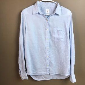 Gap 100% Linen Button Up Shirt Medium Light Blue
